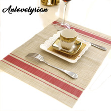 Anlovelysian Tasteless PVC Striped Dining Table Mat Environmental Protection Fresh Waterproof Heatproof Placemat Table Coasters