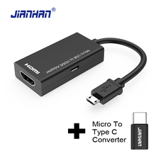 2 in 1 Type C Micro USB To HDMI Adapter For TV Monitor 1080P HD HDMI Audio Video Cable MHL Converter For Samsung HUAWEI Xiaomi(China)
