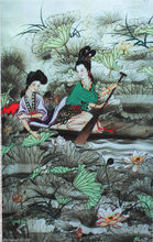"40""Chinese SuZhou Silk Art Ancient Beauty Women Silk Decoration Scroll Painting"