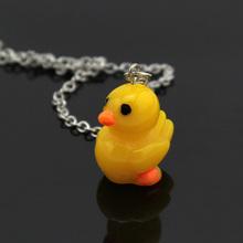 "Trusta 2017 New Fashion Jewelry Cute Yellow Duck Pendant 16"" Short Necklace CN11 Child Girls Gift Wholesale Drop Shipping(China)"