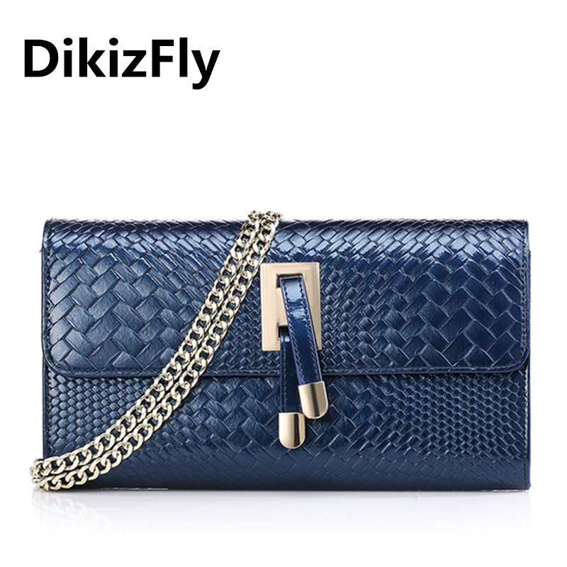 DikizFly New luxury handbags women bags designer Chains Shoulder bags women handbags Patent Leather Day Clutches Knitting clutch<br>