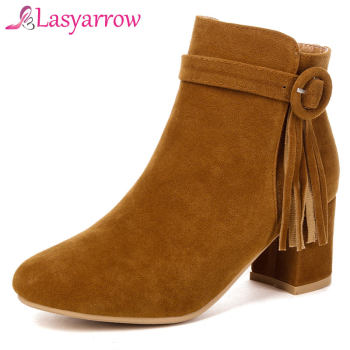 Lasyarrow Women Boots Fashion Zipper Flock Ladies Boots Comfortable Autumn Winter Ankle Boots Fringe Tassel Boots For Woman F283