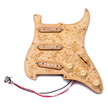Loaded Prewired Wooden Guitar Pickguard Maple Wood Plate SSS Pickups with Decorative Flower Pattern for Electric Guitars(China)