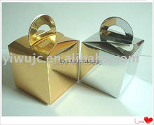 FREE SHIPPING--100pcs Gold&Silver Square Wedding Favor Boxes with Round Handle,Candy Box, Cooke Box,Treat Box ( JCO-00CC )