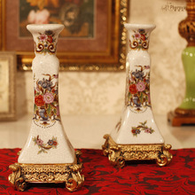 of the ancient palace garden Candlestick Candlestick ceramic crack resin table living room decoration special offer(China)
