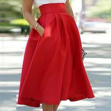 2017 Women New Stylish High Waist Skater Flared Pleated Swing Long Skirt Pleated Stretch Skirts(China)