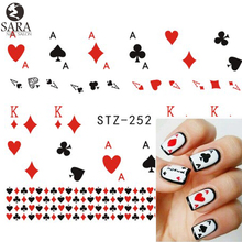 Nail Salon 1 Sheet Playing Card  Red Heart Nail Art Stickers Nail Water Transfer Decoration DIY Watermark Tools SASTZ252