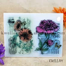 Rose Sunflower Scrapbook DIY photo cards account rubber stamp clear stamp transparent stamp 14x18cm KW692417(China)