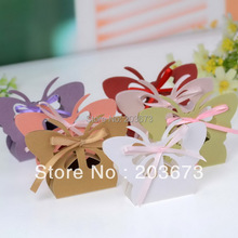 Laser Cut Butterfly Wedding Favors Gifts Candy Boxes Pearl Paper Wedding Chocolate Boxes 7Color Optional 12pcs