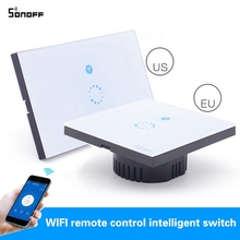 Itead Sonoff Wifi  Switch Wall Touch Switch Wireless Remote Control EU US Glass Panel 1way Timing Switch smart Home Automation
