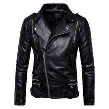 Plus size 5xl Men Coat Jacket PU Synthetic Faux Leather Fashion Zippers Motorcycle Jackets Outwear Overcoat Male Coats 1157(China)