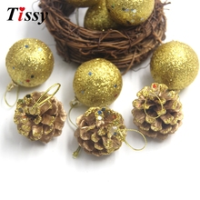 12PCS/Set Christmas Ornaments Gold Balls&Pine Cones For Xmas Tree Ornaments Home Christmas Party Decorations Supplies