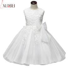 2017 Cute O Neck Sleeveless Flowers Girls Dresses Bow Appliques for First Communion Lace Ball Gown Girls Evening Gowns(China)