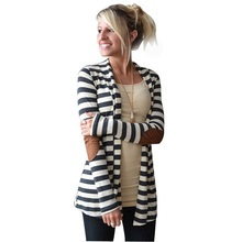 KLV cardigan women Casual Long Sleeve Striped Cardigans Patchwork Outwear gilet femme manche longue