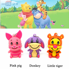 cartoon cute animal donkey usb flash drive tiger pen drive 32g pendrive 16g 8g 4g Usb2.0 pig memory stick u disk real capacity