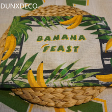 DUNXDECO 2PC 34x24CM Tropical Jungle Banana Print Linen Cotton Table Placemat Home Store Party Mat Kitchen Decoration Photo Prop