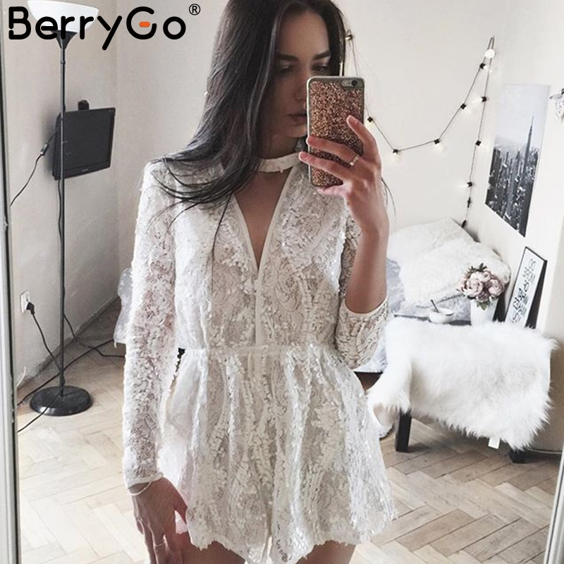 BerryGo Halter white lace sequined jumpsuit romper Summer 2017 beach playsuit Women sexy deep v neck long sleeve overalls