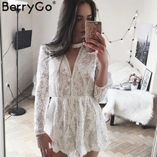 Buy BerryGo Halter white lace sequined jumpsuit romper Summer 2017 beach playsuit Women sexy deep v neck long sleeve overalls