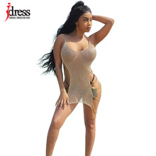 IDress 2017 New Cheap Summer Bodycon Sexy See Through Spaghetti Strap Hollow Out Golden Women Beach Dresses Chains Mini Dress