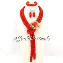 Red Costume Gold Jewelry Set Nice African Fashion Jewelry Sets New Design Free Shipping BN229(China)