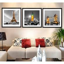 3 Panel Modern Paris Effiel Tower Painting Picture City Building Bridge Landscape Painting Canvas Wall Art No Frame Pr119 -33427(China)