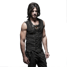 Punk Rock Man Cotton Leather Belt Sleeveless T-shirt Front Strap Vest Bandage Casual Tank Tops Shirts