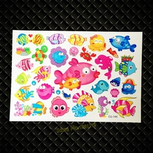 New Fake Flash Cartoon Tattoo Stickers Sea Fish Octopus Waterproof Tatoo  GCG-144 Lovely Carp Tattoo Paste Child Body Arm Tatoo