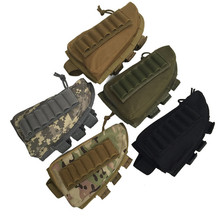 Outdoor Tactical Rifle Buttstock Pouch Cheek Rest Rifle Stock Ammo Shell Nylon Magazine Molle Holder Bag Hunting Field 7 Slots(China)
