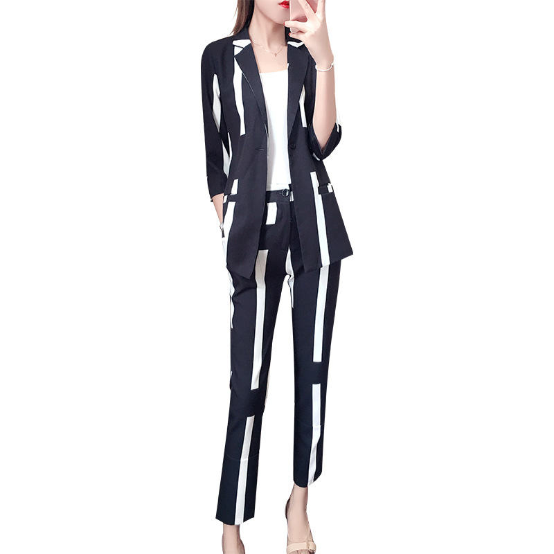 Striped suit 2 piece set women New OL temperament suit female fashion striped commuter small suit with nine pants two sets
