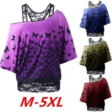 Sexy Skew Collar Lace Trim Patchwork T-Shirt Women Loose Top Tees Butterfly Print Short Sleeve T Shirt Womens Casual Blusa