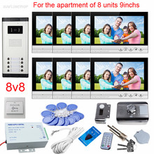 "9"" Color Video Intercom For Residential Security With Rfid Electronic Door Lock Videophone For 8 Apartments Door Bell Camera(China)"