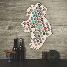 Free Shipping 1Piece Beer Bottle Caps Map of Ireland Wooden Beer Cap Maps Board Wall Art For Cap Collector Home Decoration