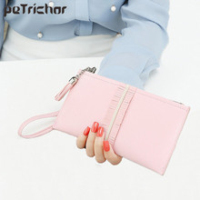 Petrichor Tassel Long Women Wallets Phone Pocket Zipper Solid Fashion Purse Brand Design Female Wrist Clutch Wallets Credit Card(China)