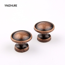 2017 10pcs 25*21mm Antique Handle Single Hole Round Knob Zinc Alloy Kitchen Furniture Cabinet Door Cupboard Closet Drawer Pull(China)