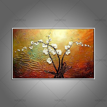 Hand-painted modern home decor room hall wall art picture white orchid flower thick colors palette knife oil painting on canvas(China)