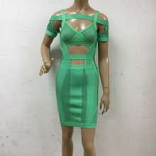 wholesale New Dress green Spaghetti Strap Stretch knitting Celebrity Fashion mini boutique Cocktail party Bandage dress (L1813)