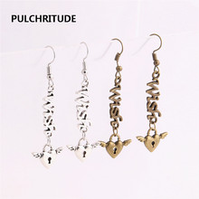 PULCHRITUDE 12pcs/lot Metal Alloy Zinc Love Pendant Letter Wish Connector Wings Heart Charm Drop Earing Diy Jewelry Making C0673(China)