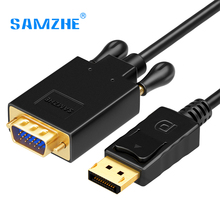 SAMZHE Displayport to VGA Converter Cable 1080P HD DP Male to VGA Male Adpater Cable 1.8M for PC Laptop Projector(China)