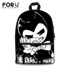 FORUDESIGNS Preppy Style Teenager Girls School Bags Cartoon Bendy and The Ink Machine Canvas Backpacks for Student Shoulder Bags(China)