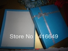 Free Shipping Wholesale 13*11*2.5cm light blue Large Jewelry Sets  Necklace Earrings Ring  Packaging Box