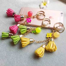 2016 Camellia Leather Tassels Keychain Bag Pendant Car Ornaments Creative Gifts Long Key Chain Buckle Key Ring 8 Colors
