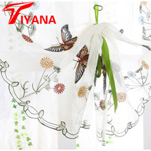 Butterfly curtain panel roman window valance home kitchen curtains string fabric for yarn rustic curtain yarn customize P242Z20(China)
