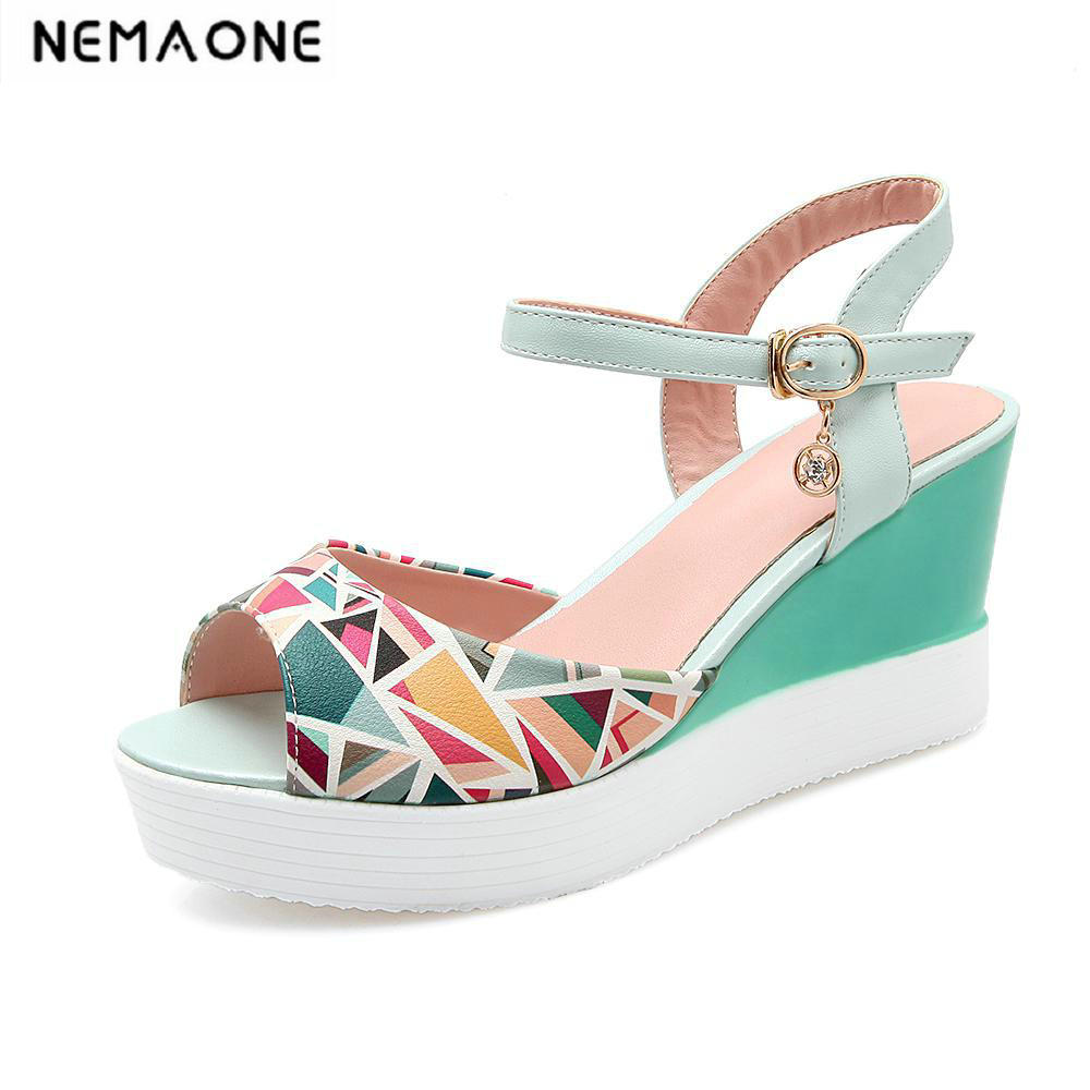 Women Sandals 2018 Summer New peep Toe Fashion platform High Heels Wedge Sandals female shoes mixed colors women shoes<br>