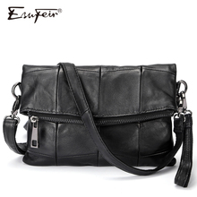 ESUFEIR Genuine Leather Women Crossbody Bag Sheepskin Leather Patchwork Messenger Bag Fashion Handbag For Female Daily Clutch