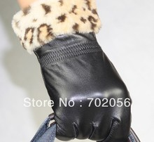 winter womens leopard print Genuine Leather gloves skin gloves LEATHER GLOVES 10pairs/lot #3129
