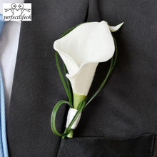 Hand Made White Calla Lily Flower Corsage Groom Groomsman Wedding Party Man Boutonniere Pin Brooch Decoration(China)