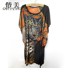 long loose women summer blouse ice silk slip kimono beach tunic batwing tops shirts ladies boho print Leopard chemise femme(China)