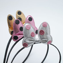 1 Piece Hair Accessories Synthetic Leather Hairbands Pu bows Hair Bands Baby Girls Headbands  Children hairbands