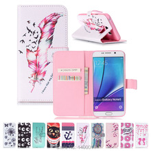 Stand Flip Leather Case For Samsung Galaxy Note 4 5 Colorful Painting cell Phone Cover Cases For Galaxy S3 S4 S5 S6 edge S7 edge(China)