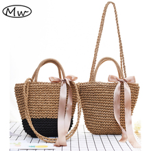 Moon Wood Handmade Ribbons Straw Tote Bags Summer Woven Shoulder Bag Women Straw Beach Handbag Casual Travel Shopping Bag Bolsos